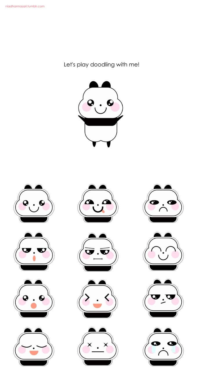Cute Doodles Illustration — The cute little panda kawaii expression (^O^)