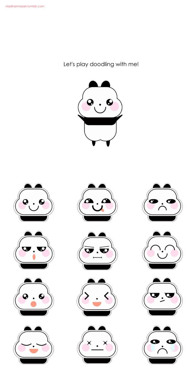 Cute Doodles Illustration — The cute little panda kawaii expression (^O^)