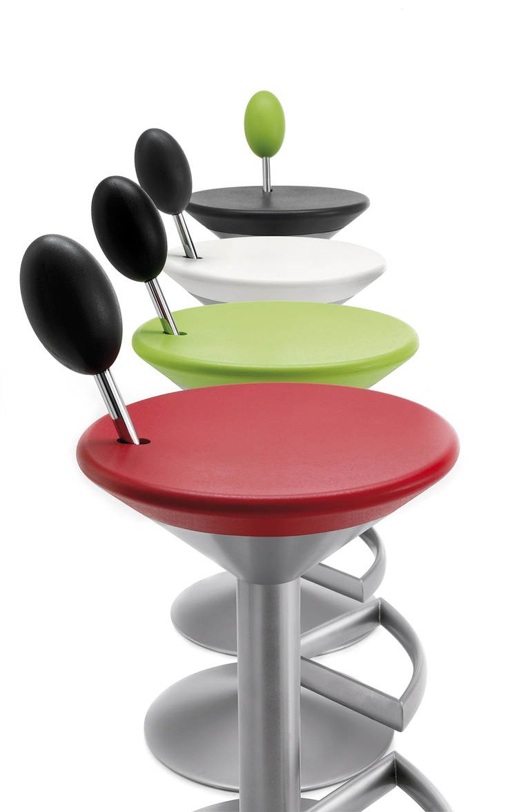 MANHATTAN stool, a design of Itamar Harari, 2008..shape of a cocktail glass complete with olive.. painted steel structure with non-scratch finish and integral polyurethane seat and lumbar backrest lever, which is used to regulate the height of the seat.: Manhattan Stools, Martinis Chairs, Cocktails Glasses, Integration Polyurethan, Polyurethan Seats, Backrest Lever, Martinis Barstool, Furniture Design, Glasses Complete