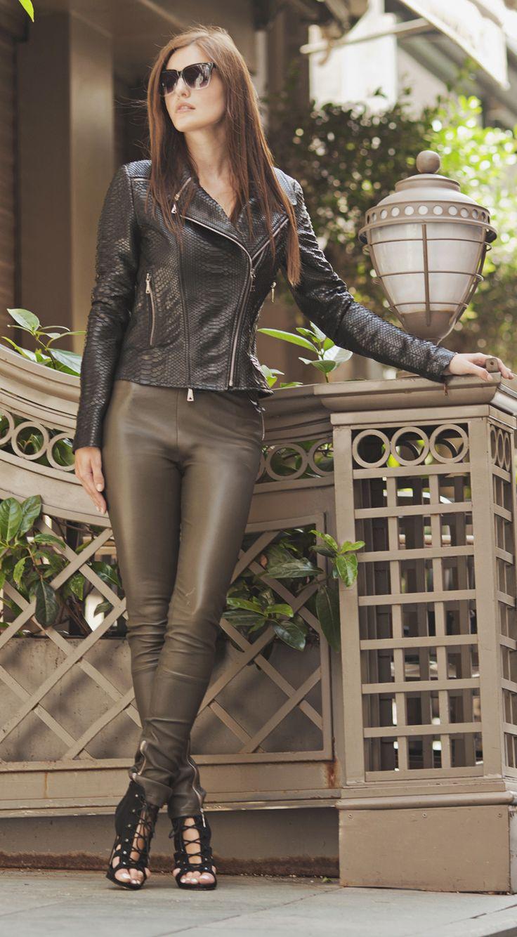 Python black jacket and khaki leather leggins by ADAMOFUR #style #fashion #leatherstyle #leatherjacket #fashionista
