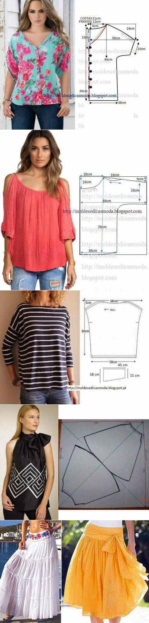 faldas y blusas de verano con patrones simples