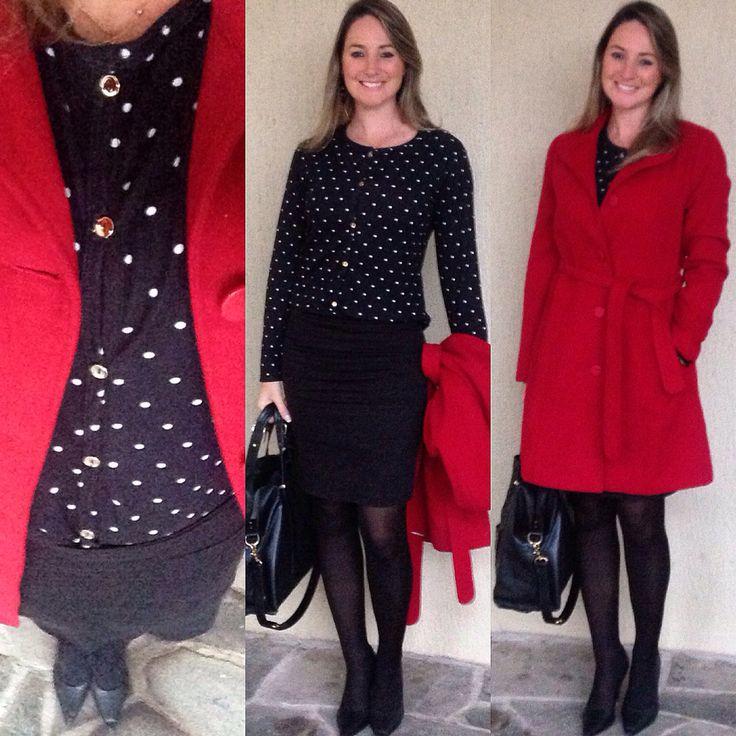 Look de trabalho - look do dia - moda corporativa - cardigan Poa - vermelho e preto - casaco vermelho - dots black red