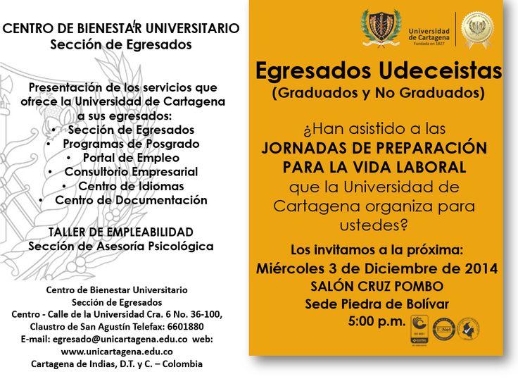 Jornada de Preparación para la Vida Laboral. #Unicartagena #Bienestar #Egresados