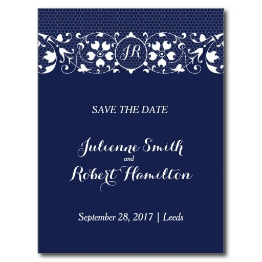 Lace Love | Monogram Save the Date Postcard