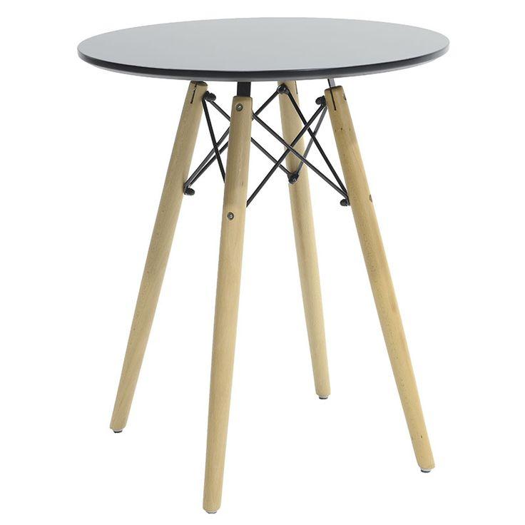 Round table Julita MDF top black F60