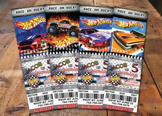 Hot Wheels Birthday Invitation Ticket Monster Truck & by DigiCards, $11.99