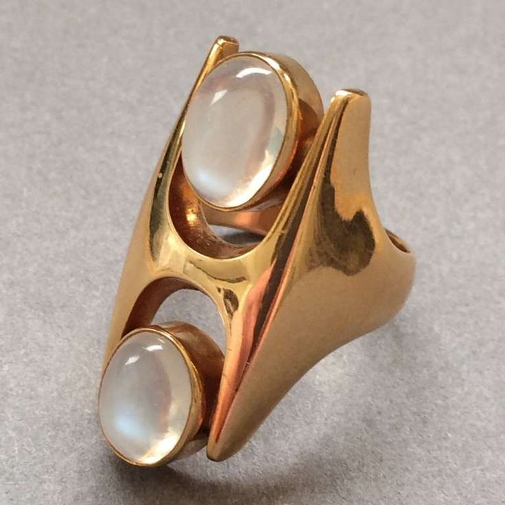 Georg Jensen Gold Ring Design No. 845 with Moonstones by Henning Koppel | From a unique collection of vintage more rings at http://www.1stdibs.com/jewelry/rings/more-rings/