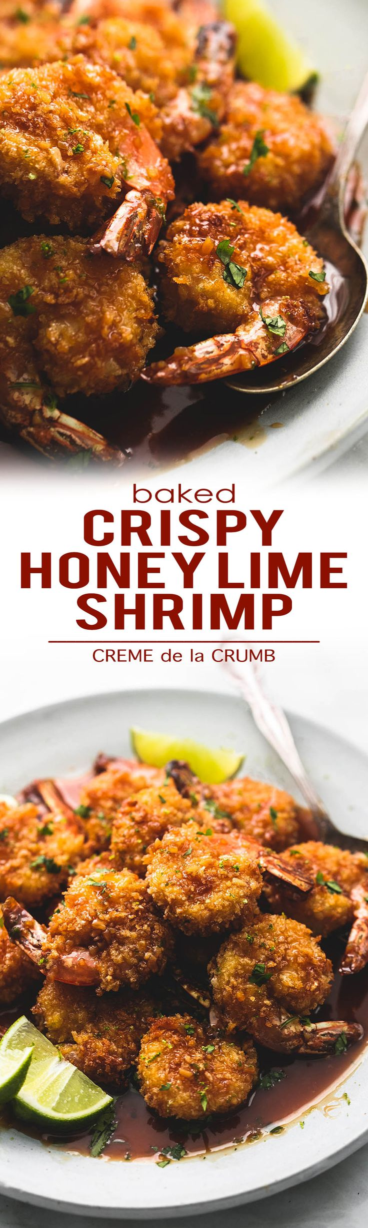Sweet and tangy baked crispy honey lime shrimp is lighter than fried versions with the most incredible sticky honey, lime, and garlic glaze. The best easy healthy shrimp dinner you've had! | lecremedelacrumb.com