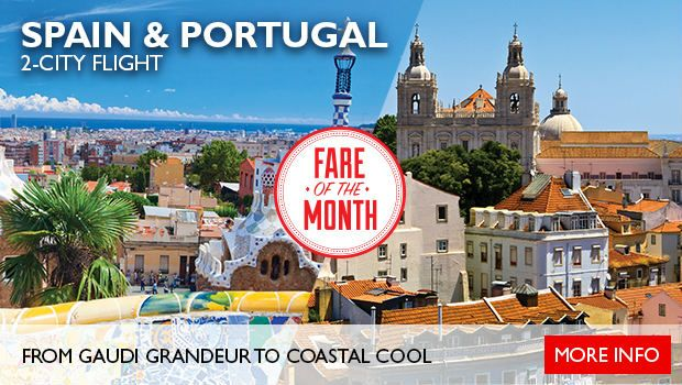 This April, our Fare of the Month is Spain & Portugal! We've conveniently packaged an airfare for you to easily explore two of our favourite cities.