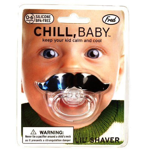 Mustache Pacifier by Fred & Friends, http://www.amazon.com/dp/B007M2OG86/ref=cm_sw_r_pi_dp_Zq-rqb1N3G57B
