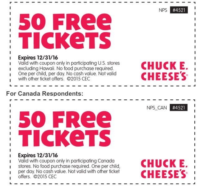 Chuck E Cheese 50 Free Tickets exp 123116