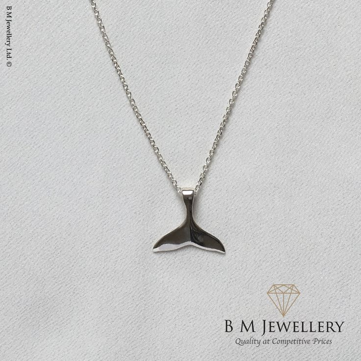 The Silver Aquatic Tail | Dolphin Tail | Whale Tale | Marine Life.  Made from Solid 925 Sterling Silver including chain of chosen length.  Free Postage & Packaging within the UK. International Postage & Packaging – From £15.  Height - 18mm Width - 20mm Weight - 4.0g  #Tale #Dolphin #DolphinTail #WhaleTail #Aquatic #MarineLife #SeaLife #Mammal #SeaMammal