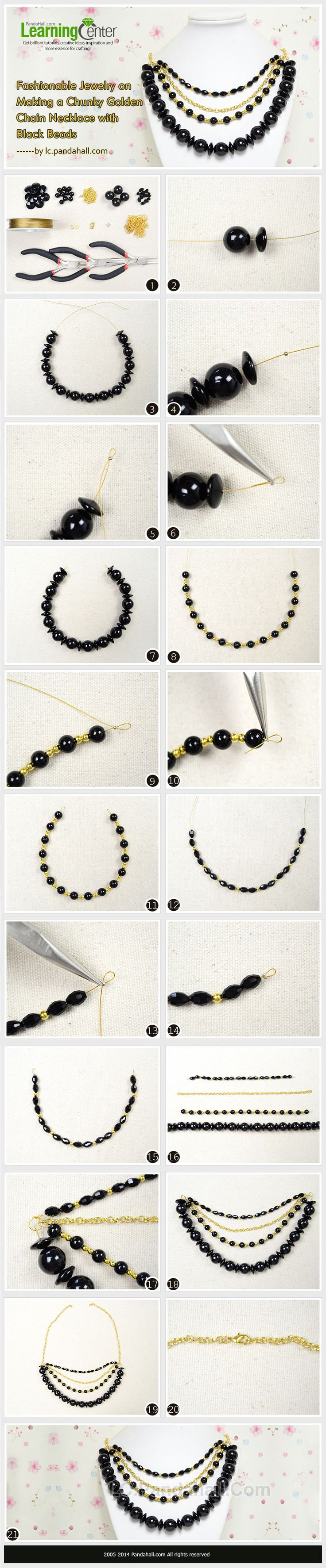 Fashionable Jewelry on Making a Chunky Golden Chain Necklace with Black Beads