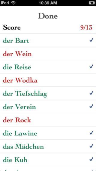German Noun Gender Quiz. Appen er gratis.  Her kan man lære de tyske navneords køn.