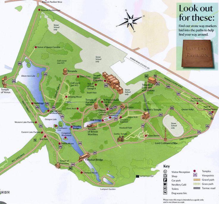 Stowe Complete Map Jpg 1265 1181 English Gardenslandscape Architecture18th Centuryengland