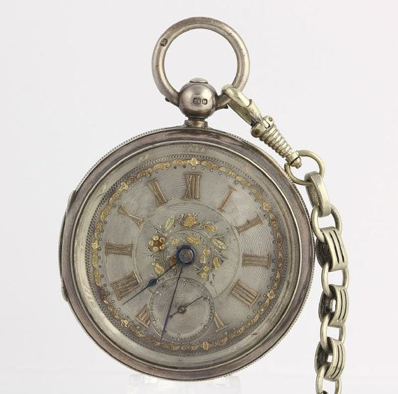 1898 Sterling Silver Antique Pocket Watch Working Vintage Irving Oil Key Wound x3125