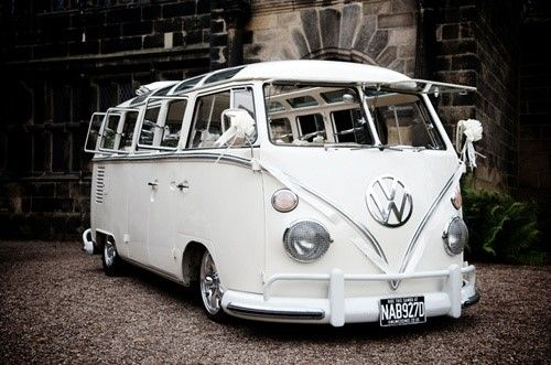 Volkswagen Campervan | Wedding Transport Ideas | Athelhampton House and Gardens | http://www.athelhampton.co.uk/weddings/four-ways-to-arrive-at-your-wedding-in-style/