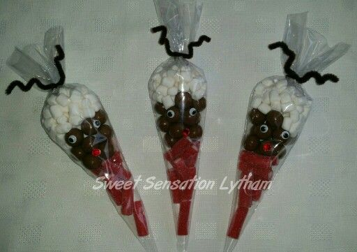 Rudolph /Reindeer themed chocolate and sweet cones £1.75. Available to order from www.facebook.com/SweetSensationLytham or www.SweetSensationLytham.weebly.com
