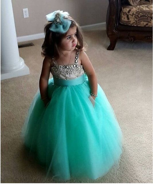 One Shoulder Crystal Cheap Girls Pageant Dresses Kids Ball Gowns Long Royal Blue Green Pink Flower Girl Dress For WeddingsCute!!! Spaghetti Straps Mint Green Flower Girl Dress Ball Gown Floor Length beaded crystal girls pageant dress