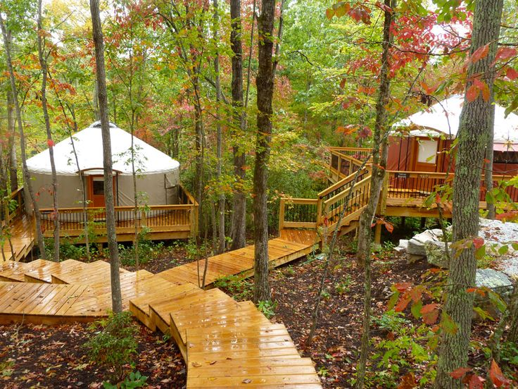 I will want our yurt trio closer but very similar to this set up where all are on separate platforms but connected by walkways.