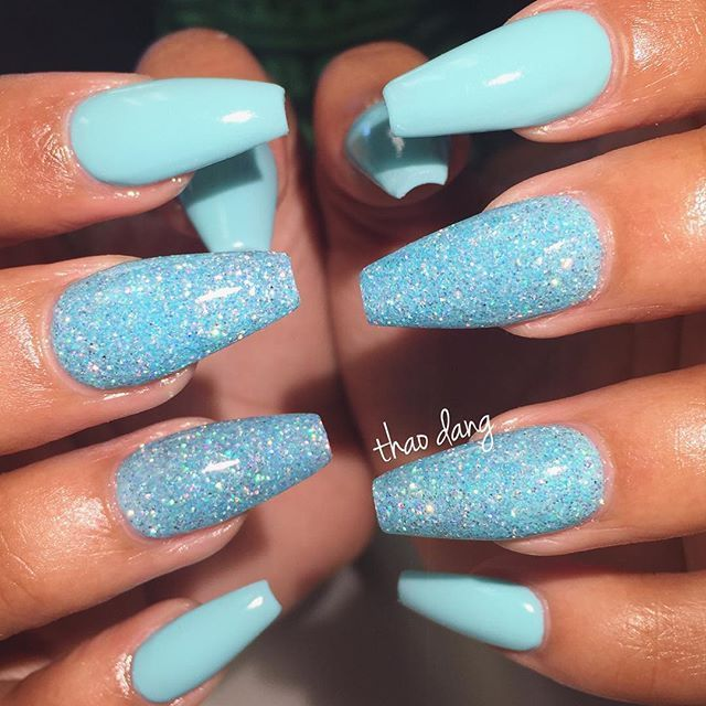 Baby Blue Nails With Glitter Blue Glitter Nails Blue Acrylic Nails Baby Blue Nails With Glitter