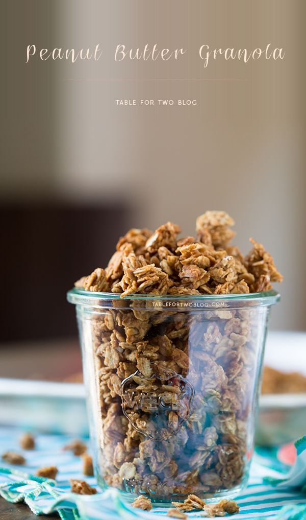 Peanut butter granola is so versatile and a great healthy snack alternative. You can put it on top of Greek yogurt or it by itself!