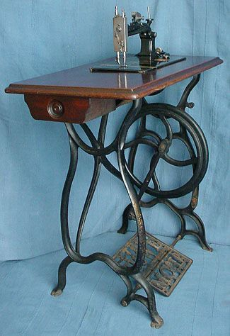 """Dating to the late 1870's and produced in Scotland this treadle machine has """"The Howe M Co Ld"""" cast into the treadle plate. On the bed, is a medallion featuring a portrait of Elias Howe J.R., this was the Company's Trade Mark which according to the Company's literature """"is embedded on every Genuine Howe Sewing Machine""""."""