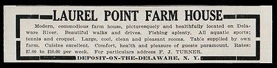 Deposit on the Delaware 1915 Laurel Point Farm House Delaware River Sports NY AD
