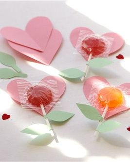 Kids Valentines Crafts--Blooming Heart Lollipops
