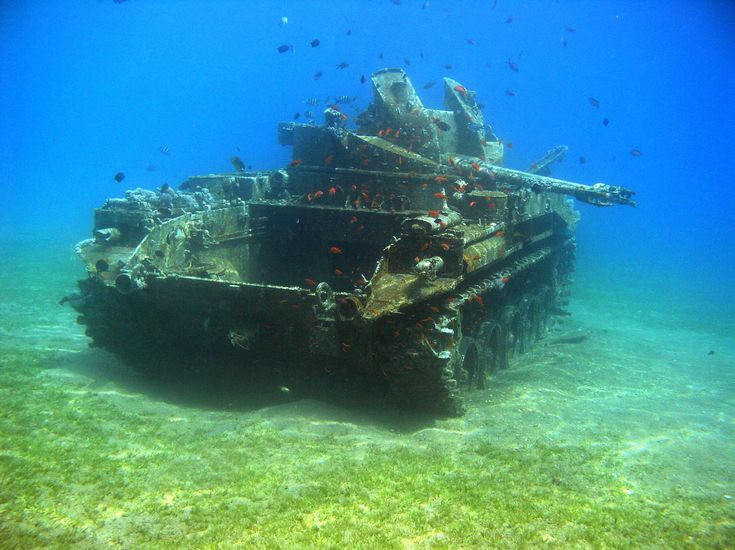 Underwater AA Tank, Red Sea, Aqaba, Jordan - I remeber seeing that through our glass-bottomed boat tour.