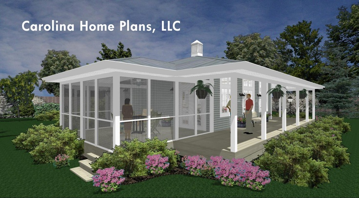 Screened porch connects to a large wrap around porch for Tiny house plans with porches