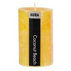 Aura Pillar Candle Coconut Beach 6cm x 10cm Yellow