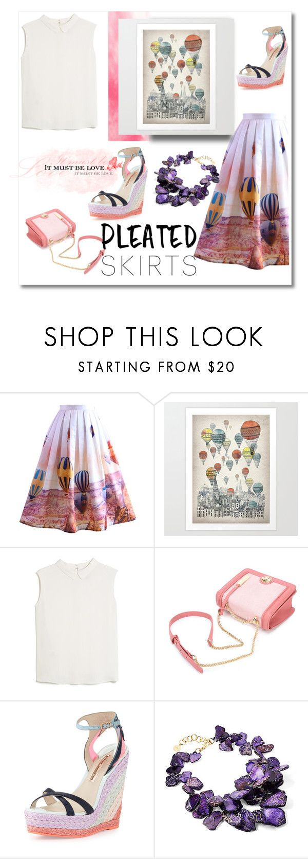 """""""Balloon festival printed skirt!!"""" by faten-m-h ❤ liked on Polyvore featuring Chicwish, MANGO, Sophia Webster, Nest and pleatedskirts"""