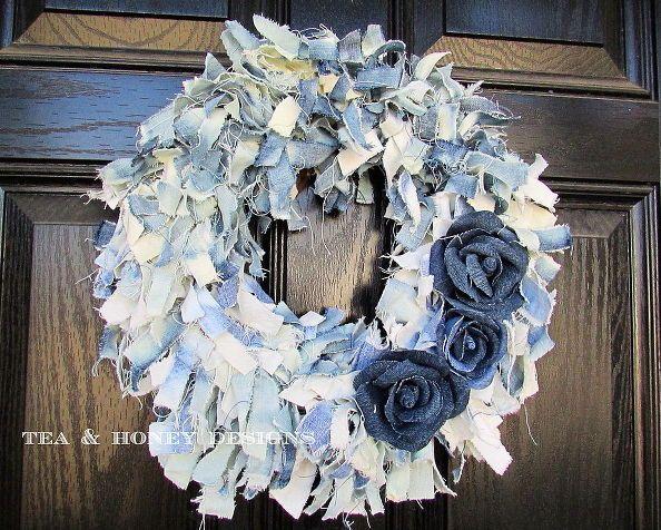 come fare una corona di fiori jeans in denim di pezza con fiori, artigianato, corone