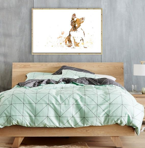 Watercolor Art Print French Bulldog Painting Home Wall by QPrints