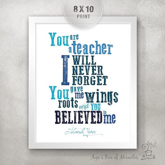 Teacher Appreciation Print / End of Year Teacher Gift Ideas / Thank You Typography / Personalized / Roots Wings Believe // 8x10 on Etsy, $15.00
