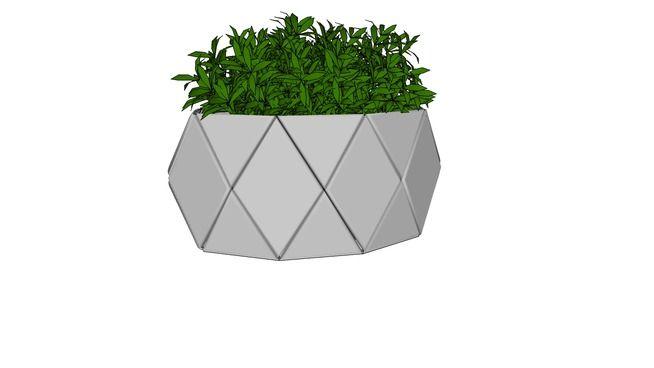 Vaso cromado geométrico com vegetação - 3D Warehouse