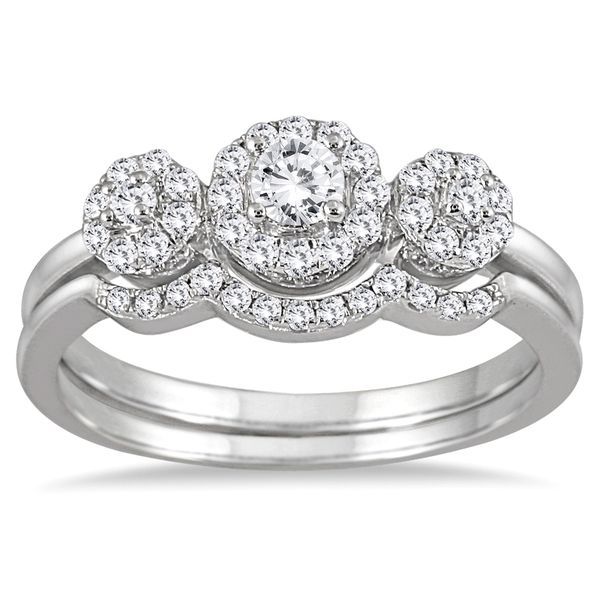 Cool Marquee Jewels K White Gold Ct Three Stone Diamond Cluster Bridal Set