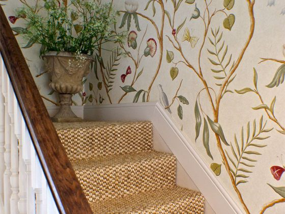 Adam's Eden wallpaper by Lewis and Wood.  http://www.mewsinteriordesign.co.uk/rambling_country_house