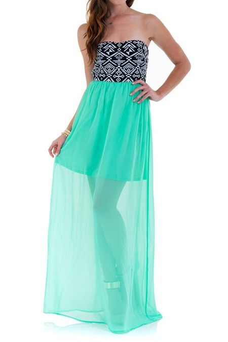 Mint Tribal Top Strapless Maxi Dress