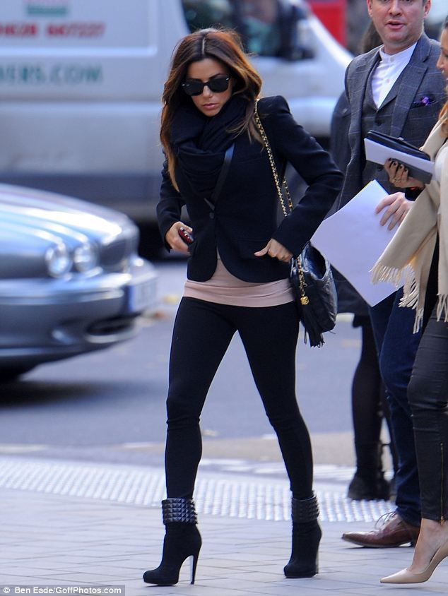 Eva Longoria // Black Pants // Leather Jacket // Nude Top // Liberté Love