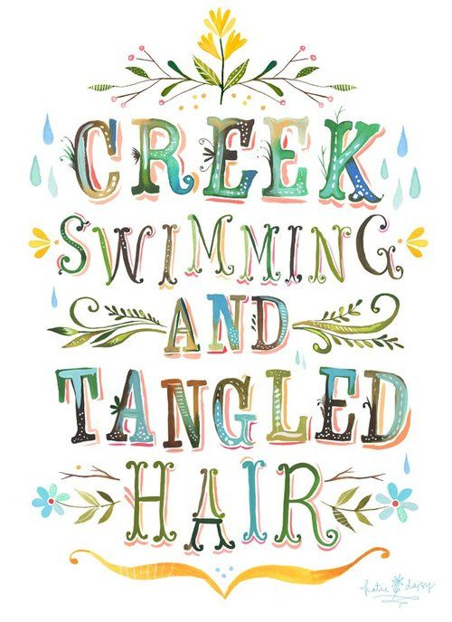 creek swimming and tangled hair