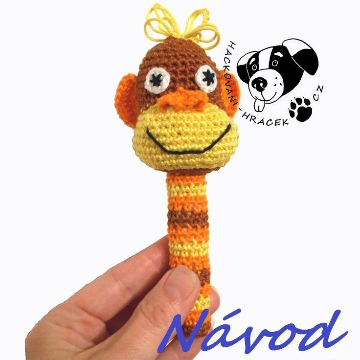 Opička Žofka - chrastítko ....... návod na háčkování __________ #opice#opička#monkey#chrastítko#rattle#háčkovaný#crochet#návod#pattern#PDF#hračka#toy