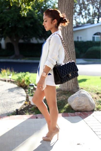 Shorts white blazer channel purse blue shirt nude heels