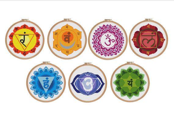 Set of cross stitch patterns Chakras Cross by StitcheryStitch