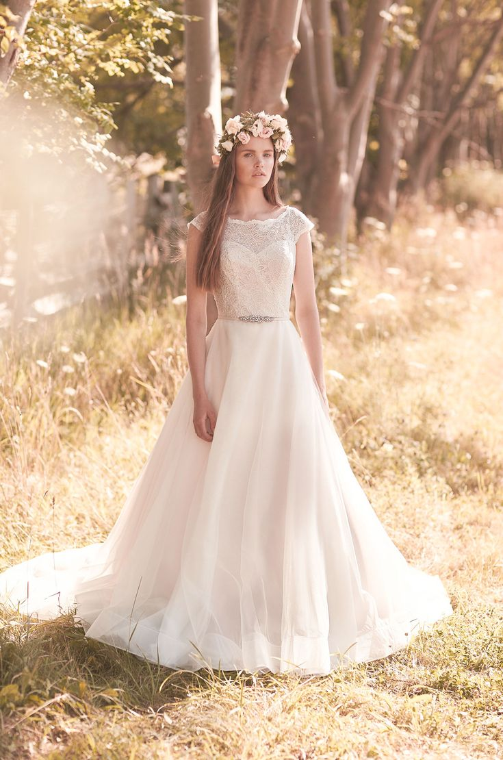 View Full Tulle Skirt Wedding Dress Style From Mikaella Bridal Lace Bodice With Boat Neck And Cap Sleeves Horsehair Hem