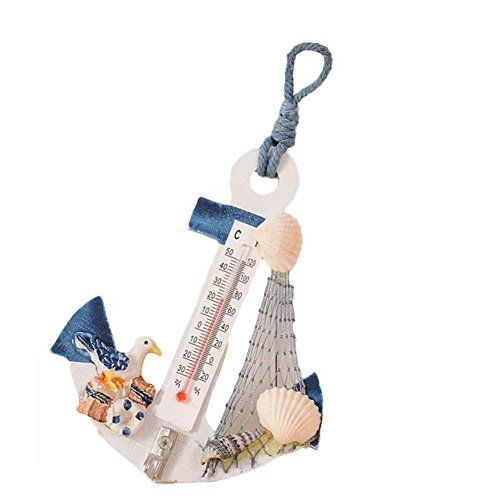 Gaosaili Nautical Wall Decor Hanging Anchors with Thermometer  Material: Pine tree  Size: 18 x 9.6 x 3cm  Indoor/outdoor thermometer is designed with a Nautical/Coastal Home feel  Thermometer is brand new, with a rustic painted finish to look like a vintage reproduction  Durable will standup to whatever environmental conditions Mother Nature can dish out
