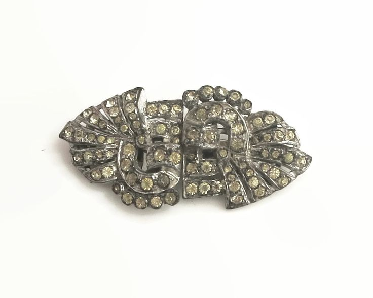 Vintage rhinestone Art Deco duette brooch in silver metal setting, combination of brooch and dress / fur / shoe clips, circa 1930s by CardCurios on Etsy