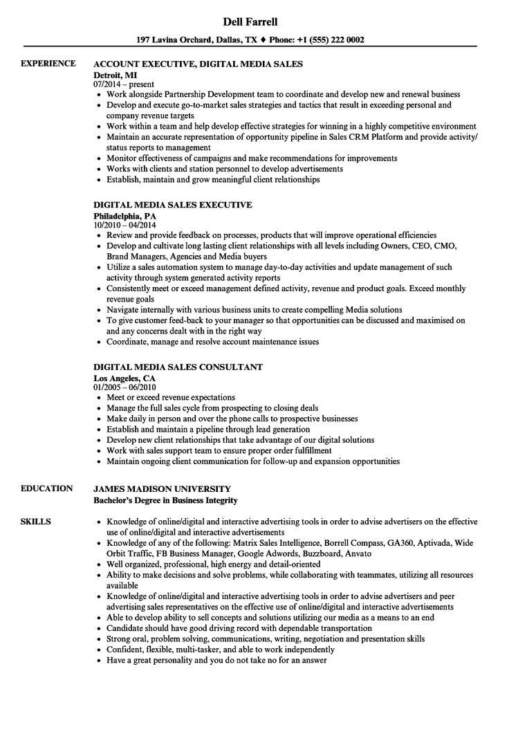 Digital Media Sales Resume Samples in 2020 Sales resume