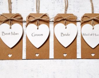 Personalised Wooden Heart Name Place 6cm Hand Painted Rustic
